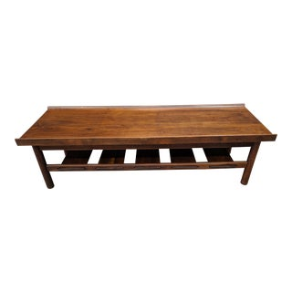 Lawrence Peabody Mid-Century Modern Walnut Coffee Table / Bench For Sale