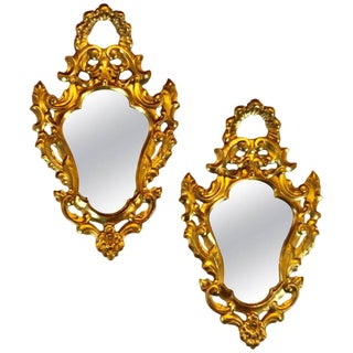 Pair of Small Giltwood Italian Rococo Style Wall Mirrors For Sale
