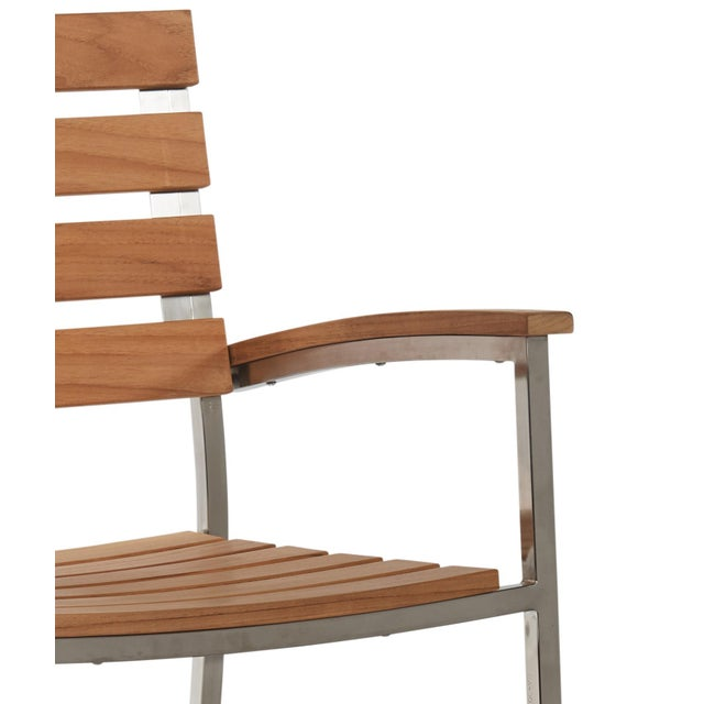 Not Yet Made - Made To Order Al Fresco Teak and Metal Outdoor Dining Armchair (Set of 2) For Sale - Image 5 of 6