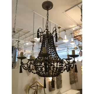 Italian Vintage Wood Beaded Chandelier Preview