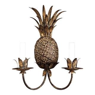 Pineapple Florentine Style Gilt Brass Sconce