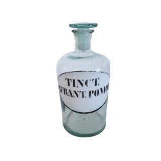 Antique Tinct. Aurant. Pomor Blue Glass Apothecary Bottle For Sale