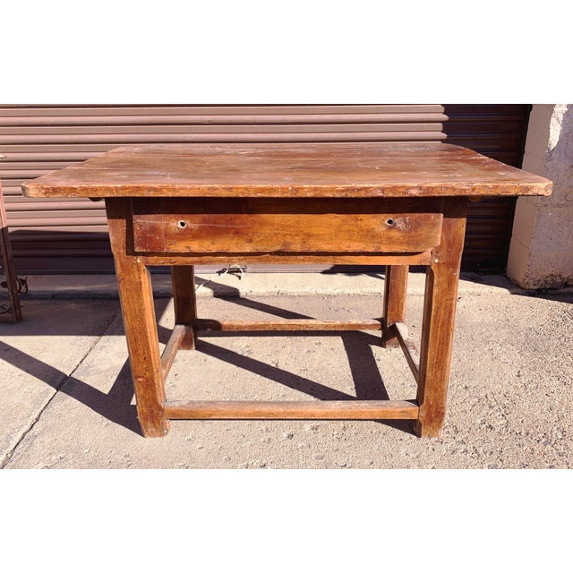 Rustic French Fruitwood Table With Stretchers For Sale - Image 13 of 13