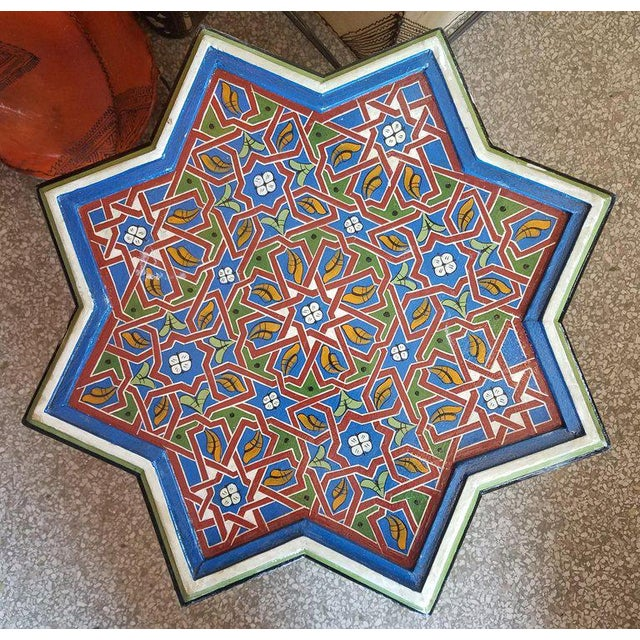 Moroccan Ceuta Painted and Carved Moroccan Star Table For Sale - Image 4 of 6