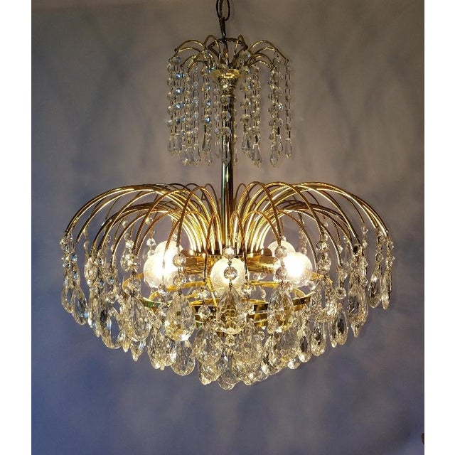 Mid-Century Crystal & Brass Plated Spider Chandelier - Image 3 of 11