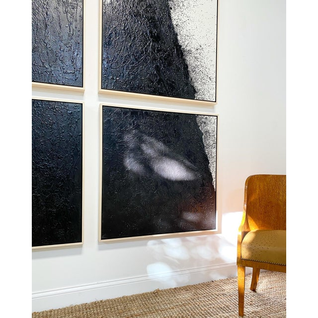 """Abstract John O'Hara """"Tar, 46 (Decontructed)"""" Encaustic Painting, 4 Panels For Sale - Image 3 of 8"""