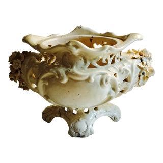 Antique Italian Floral Ceramic Urn