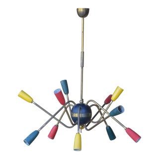 1950s Multi Colored Brass Stem Chandelier For Sale
