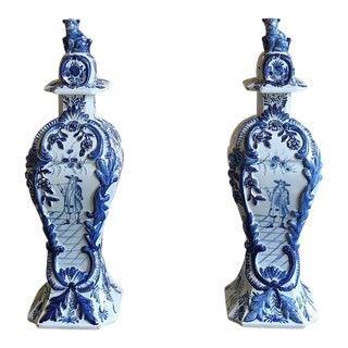 Pair Delft Vases/Urns, 19th Century Dutch Blue & White For Sale