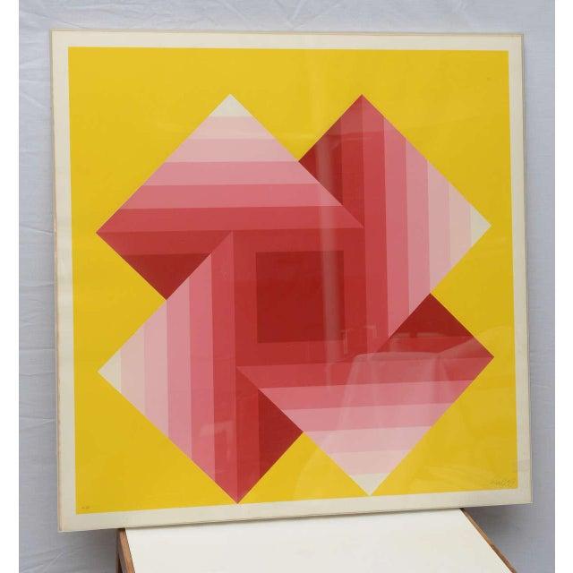 Four warped corners serigraph (signed e. 42/50, 1973, Hokin Gallery label on reverse) by Austrian artist Herbert Bayer...