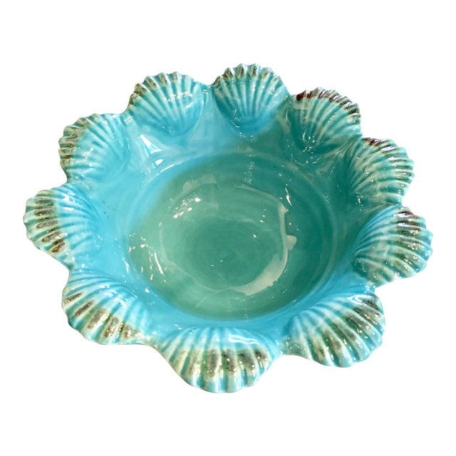 Italian Majolica Turquoise Shell Motif Bowl - Image 1 of 5