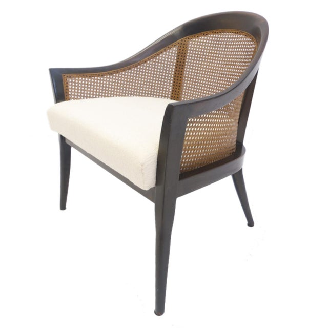Beautiful Harvey Probber chair. Stained mahogany frame. Freshly upholstered cream colored upholstery. Beautifully caned...