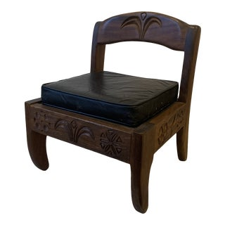 1970s Vintage Don Shoemaker Carved Low Chair For Sale
