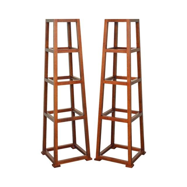 Custom Crafted Oak Obelisk Tall Pedestal Stands (Illegibly Signed Maker) For Sale