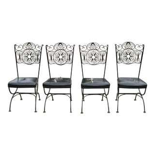 Vintage Woodard Andalusian Style Wrought Iron Dining Chairs- Set of 4 For Sale