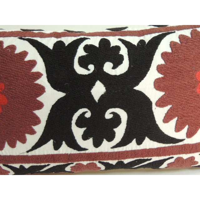 Boho Chic Vintage Brown and Black Artisanal Suzani Embroidery Decorative Bolster Pillow For Sale - Image 3 of 6