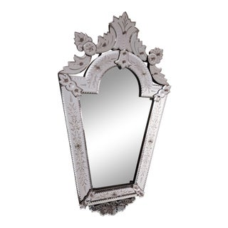 Early 20th Century Vintage Etched Venetian Mirror For Sale
