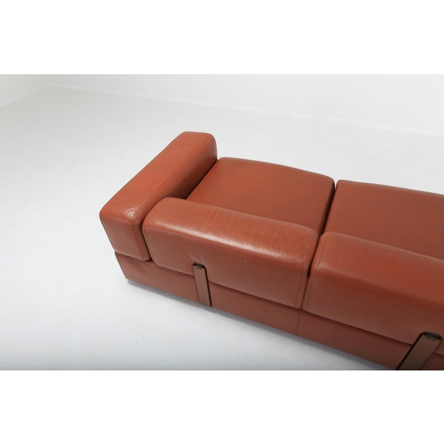 Tito Agnoli Minimalist Cognac Leather Sofa by Tito Agnoli for Cinova For Sale - Image 4 of 12