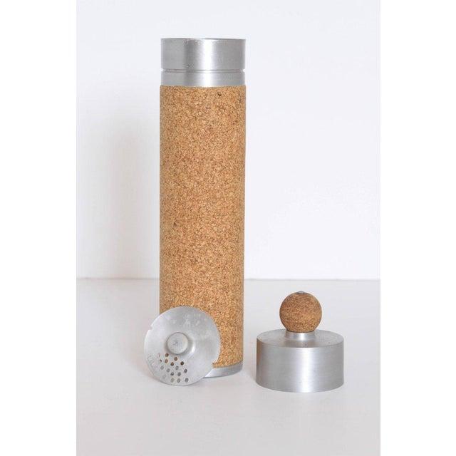 Machine Age Art Deco Cocktail Shaker Spun Aluminum & Cork For Sale In Dallas - Image 6 of 11