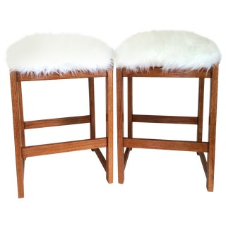Mid-Century Sheepskin Barstools - A Pair For Sale