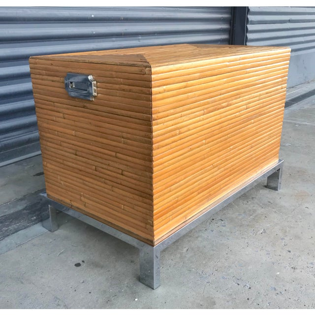 Vintage Split Reed Bamboo and Chrome Trunk For Sale - Image 12 of 13