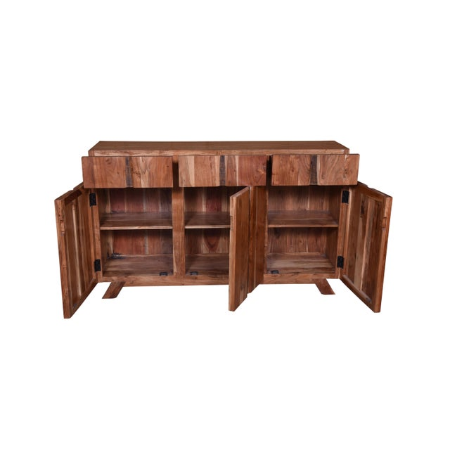 Late 20th Century Baxter Three Drawer Acacia Wood Storage Sideboard For Sale - Image 5 of 9