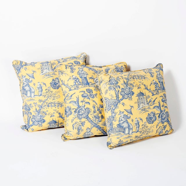 Textile French Toile Style Linen Pillows - A Pair For Sale - Image 7 of 8