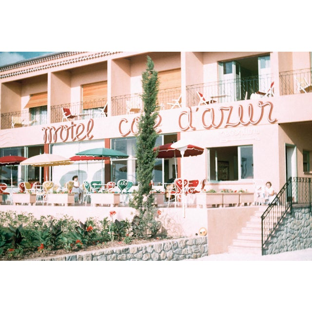 Vintage 1950s French Riviera Cote d'Azur Pink Motel Film Photographic Print For Sale