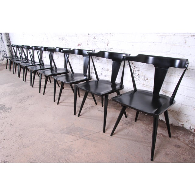 Planner Group Paul McCobb Planner Group T-Back Black Lacquered Solid Maple Dining Chairs, Set of Ten For Sale - Image 4 of 13