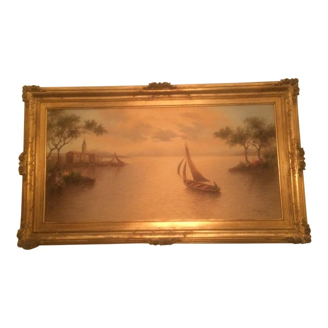 1980s Mario Rossi Serene Sailboat Oil on Canvas Painting For Sale