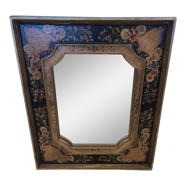 Venetian Hand Painted Rectangular Mirror For Sale