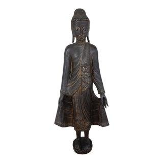Antique 19th Century Burmese Mandalay Gilt Wood Buddah For Sale