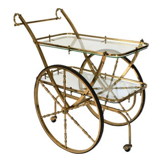 Vintage Brass & Glass Bar Cart For Sale