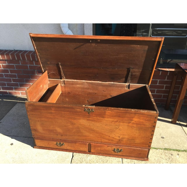 18th Century American Cherry Blanket Chest Trunk For Sale - Image 11 of 12