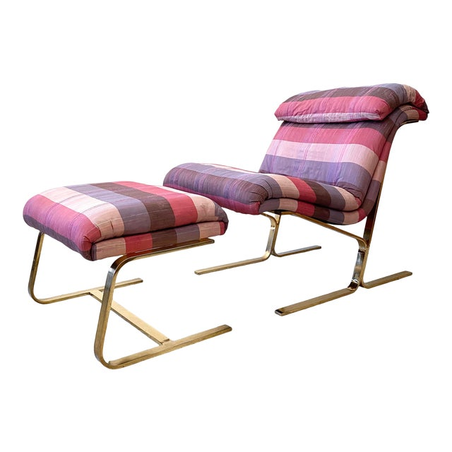 Postmodern Brass Lounge Chair With Ottoman by Dansen For Sale