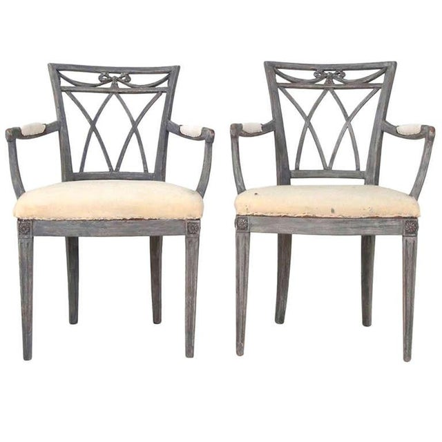 Swedish Carved Armchairs - a Pair For Sale - Image 4 of 4