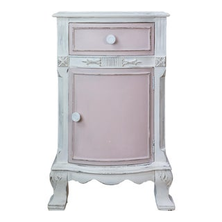 Shabby Chic Vintage/Distressed White and Light Pink Nightstand With Designer Fabric Inlay For Sale