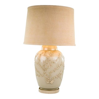 Vintage Cream Floral Motif Porcelain Table Lamp For Sale