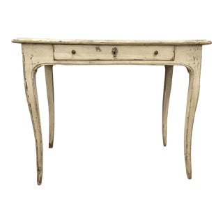 Antique White French Saber Leg Writing Desk For Sale
