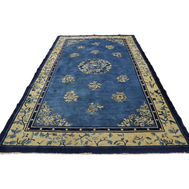 Chinoiserie 1910s Antique Chinese Peking Rug- 4′1″ × 6′9″ For Sale - Image 3 of 10