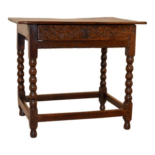 17th Century Jacobean Side Table With Spool Legs For Sale