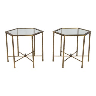 Bamboo-Style Side Tables, Pair For Sale
