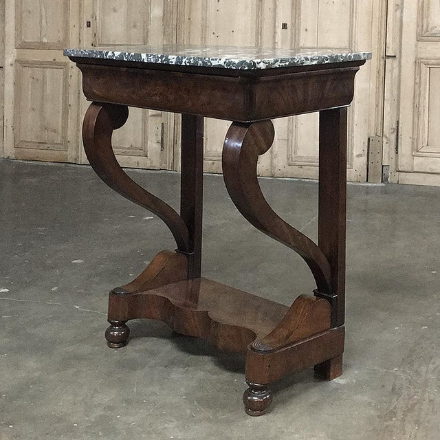 19th Century French Louis Philippe Mahogany Marble-Top Console For Sale - Image 9 of 11