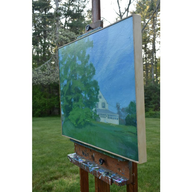 """White Stephen Remick """"House Behind the Tree by the Road"""" Contemporary Painting For Sale - Image 8 of 10"""