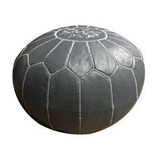 Dark Gray Moroccan Pouf Ottoman Cover For Sale