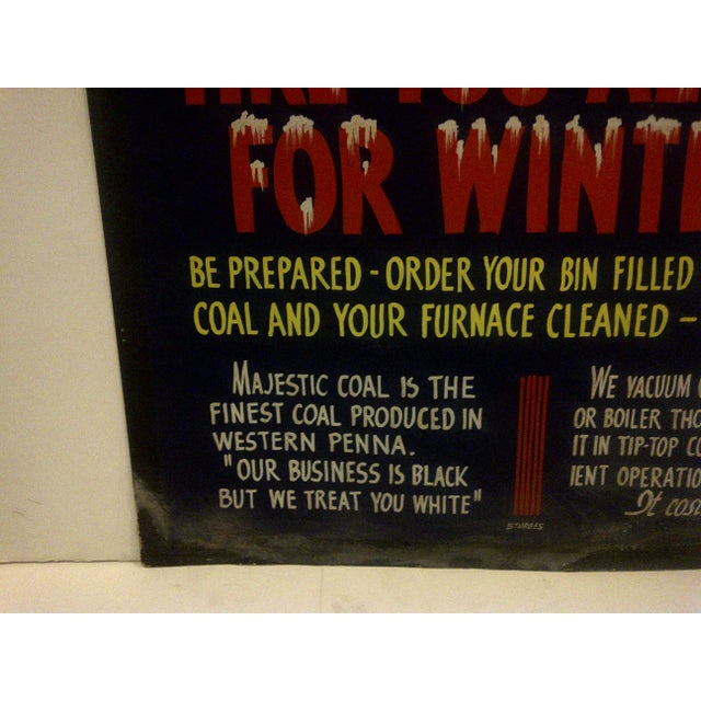 """Industrial Vintage Home Heating Coal Sign """"Majestic Coal"""" Circa 1940 For Sale - Image 3 of 6"""