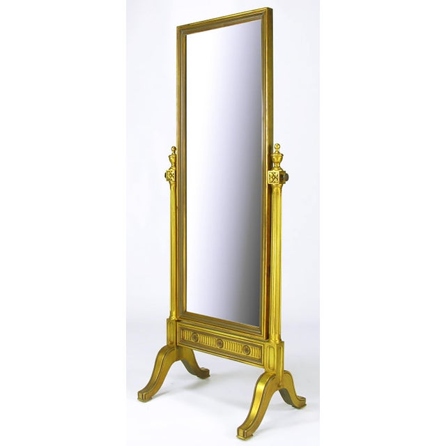 Gilt Wood Neoclassical Full Length Cheval Floor Mirror - Image 2 of 8
