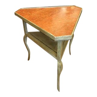 Minton-Spidell French Painted Triangle Table W/ Sienna Marble Top For Sale