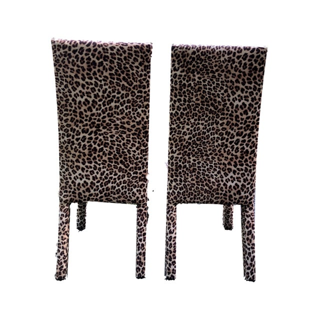 1980s Leopard Print Parsons Dining Chairs - Set of 2 For Sale - Image 5 of 9