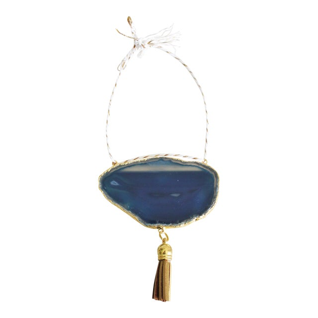 Modern Boho Blue/Cobalt Agate Holiday Ornament - Image 1 of 6